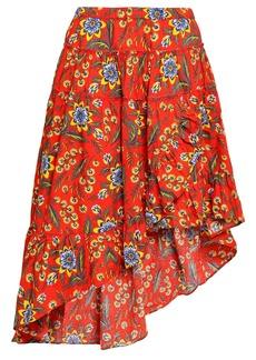 Joie Woman Floral-print Cotton-poplin Skirt Bright Orange
