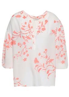 Joie Woman Floral-print Crepe De Chine Blouse White