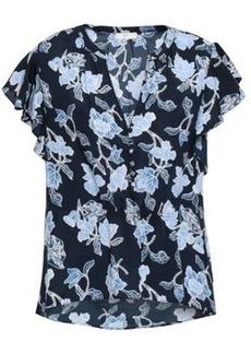 Joie Woman Floral-print Crepe De Chine Top Midnight Blue