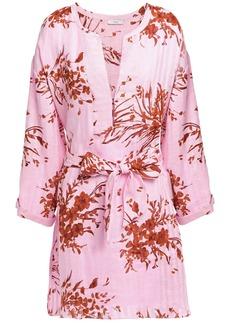 Joie Woman Floral-print Linen-jacquard Kaftan Pink
