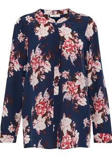 Joie Woman Floral-print Silk Crepe De Chine Blouse Navy