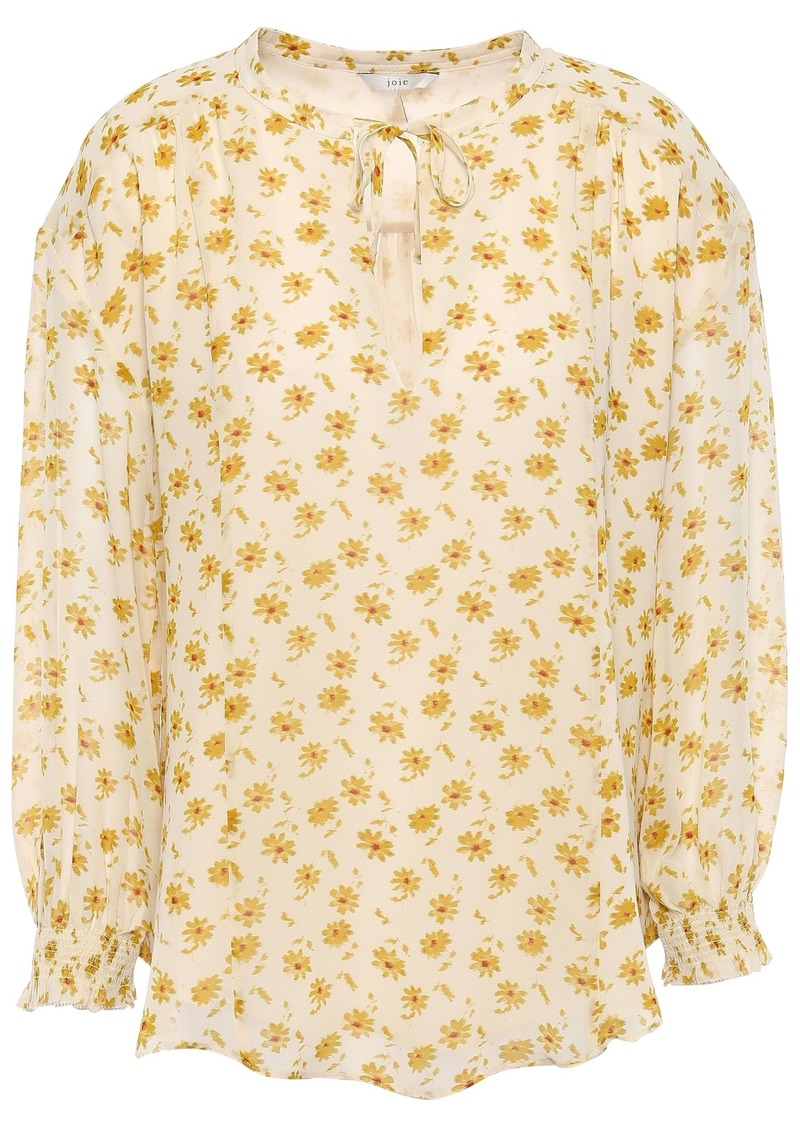 Joie Woman Tyla Floral-print Silk-georgette Blouse Pastel Yellow