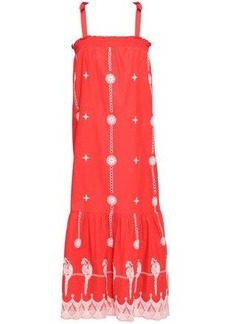 Joie Woman Fluted Embroidered Cotton Midi Dress Red
