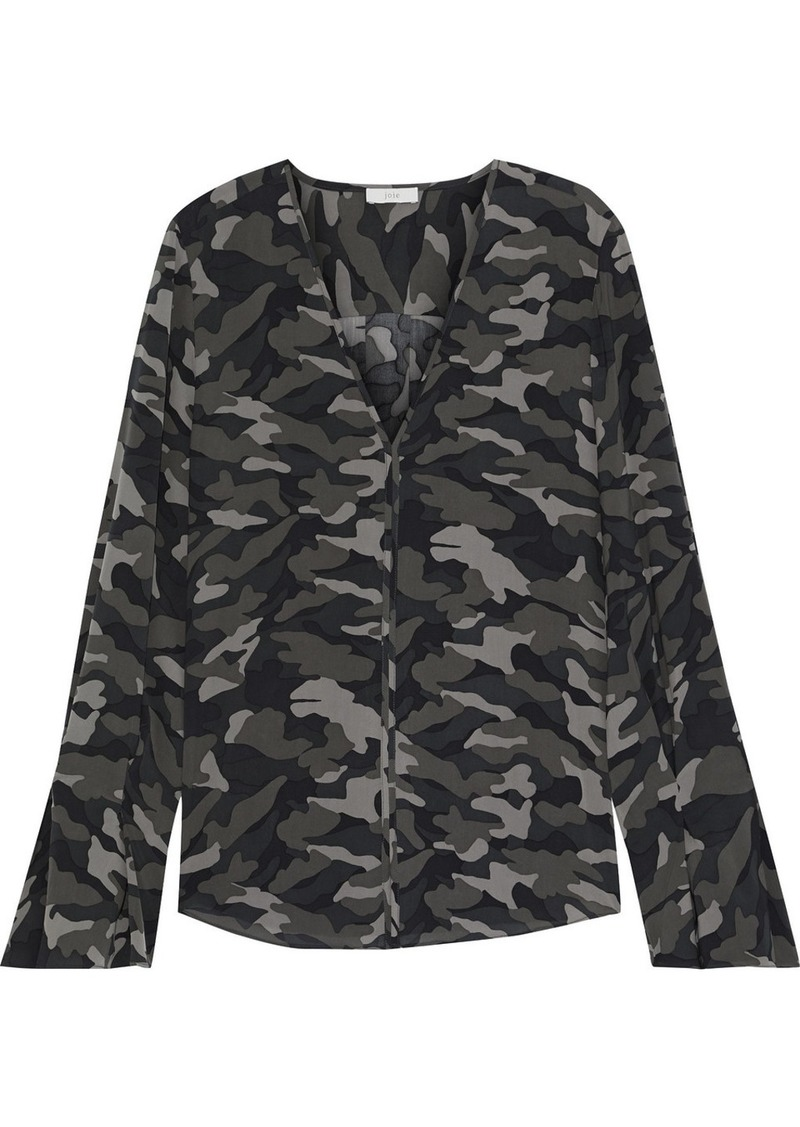Joie Woman Latacia Fluted Printed Georgette Blouse Grey Green