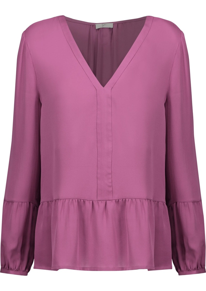 Joie Woman Forresto Ruffled Silk Crepe De Chine Blouse Magenta
