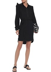Joie Woman Gadella Belted Ruffle-trimmed Crepe Mini Dress Black