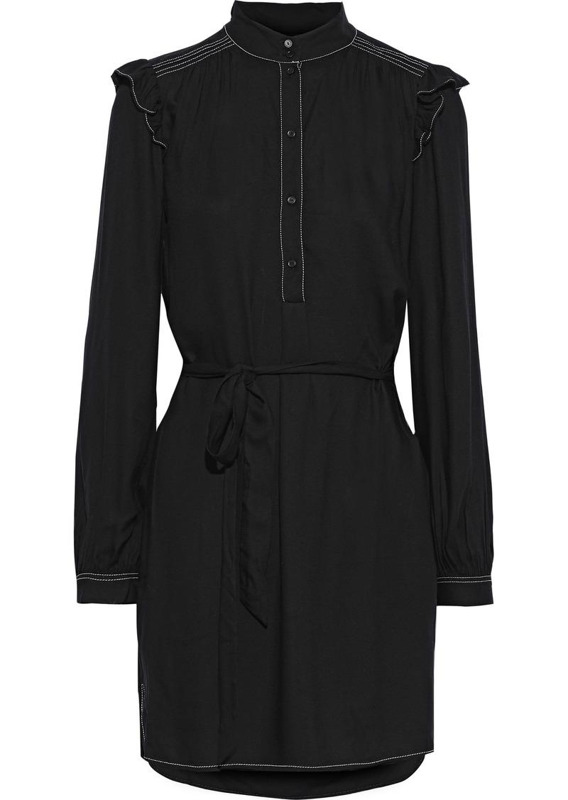 Joie Woman Gadella Belted Ruffle-trimmed Crepe Mini Dress Black