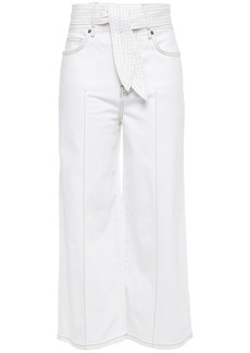 Joie Woman Gadina Cropped Belted High-rise Wide-leg Jeans White