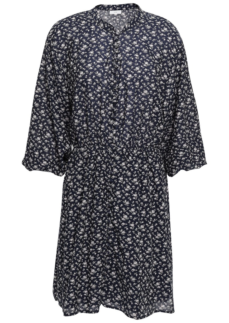Joie Woman Galani Floral-print Cotton-blend Voile Mini Dress Midnight Blue