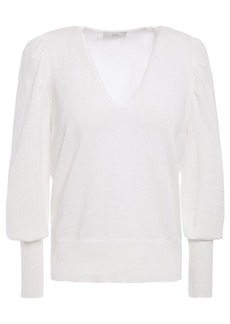 Joie Woman Gathered Cotton And Linen-blend Sweater White