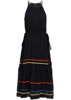 Joie Woman Gathered Cotton And Silk-blend Mousseline Midi Dress Black
