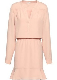 Joie Woman Gathered Fluted Crepe De Chine Mini Dress Pastel Pink