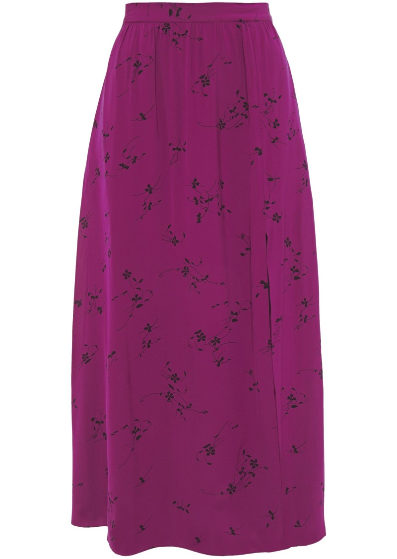 Joie Woman Gathered Printed Cady Midi Skirt Grape