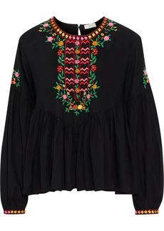 Joie Woman Ghita Embroidered Gathered Voile Blouse Black
