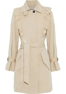 Joie Woman Gila Ruffle-trimmed Cotton-blend Twill Trench Coat Beige