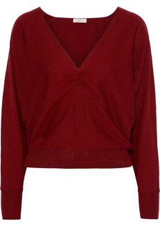 Joie Woman Giluna Ruched Cotton Silk And Cashmere-blend Sweater Claret