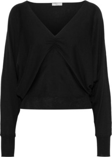 Joie Woman Giluna Ruched Cotton Silk And Cashmere-blend Sweater Black