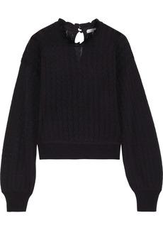 Joie Woman Hadar Pointelle-knit Wool-blend Sweater Black