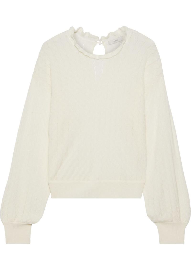 Joie Woman Hadar Pointelle-knit Wool-blend Sweater Ecru