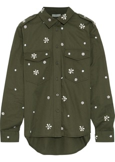 Joie Woman Hayfa Embellished Cotton-twill Shirt Army Green