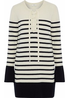 Joie Woman Heltan Lace-up Striped Wool And Cashmere-blend Mini Dress Ivory