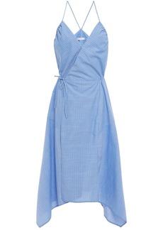 Joie Woman Hepzibah Asymmetric Striped Cotton-voile Midi Wrap Dress Light Blue