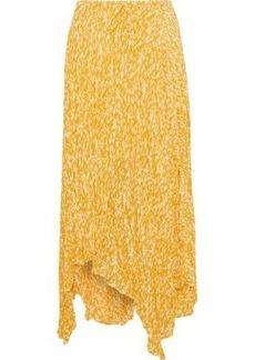 Joie Woman Hiwalani Asymmetric Printed Crinkled-silk Midi Skirt Marigold