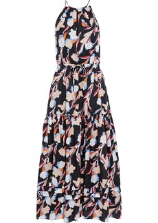 Joie Woman Huston Tiered Printed Burnout Cotton And Silk-blend Maxi Dress Black