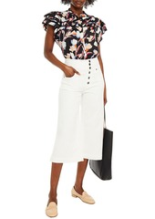Joie Woman Huxlee Ruffled Floral-print Cotton And Silk-blend Jacquard Shirt Black
