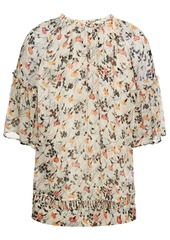 Joie Woman Imani Lattice-trimmed Floral-print Silk-crepon Top Ecru