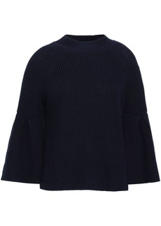 Joie Woman Ingrit Fluted Cotton And Cashmere-blend Sweater Midnight Blue