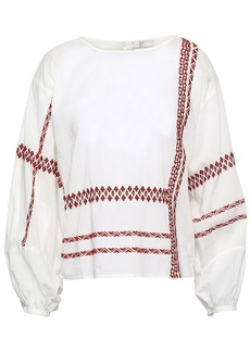 Joie Woman Isandro Embroidered Cotton-voile Blouse Ivory