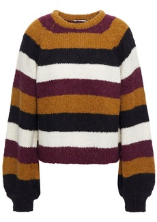 Joie Woman Izzie Striped Knitted Sweater Light Brown