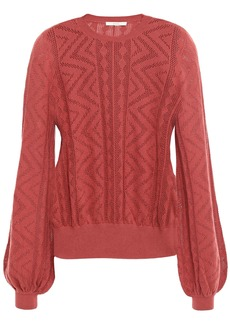 Joie Woman Jaeda Pointelle-knit Cotton And Cashmere-blend Sweater Brick