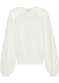 Joie Woman Jaeda Pointelle-knit Cotton And Cashmere-blend Sweater Ivory