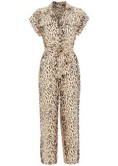 Joie Woman Jailee Cropped Leopard-print Twill Jumpsuit Ecru
