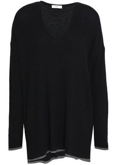 Joie Woman Jamarion Metallic-trimmed Knitted Sweater Black