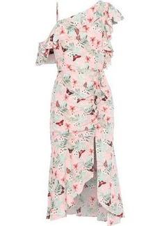 Joie Woman Jamima Ruffled Printed Washed-silk Midi Dress Baby Pink