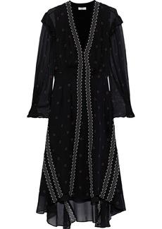 Joie Woman Jamya Ruffle-trimmed Printed Silk-georgette Dress Black