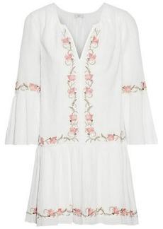 Joie Woman Jarette Embroidered Crinkled Cotton-gauze Mini Dress White