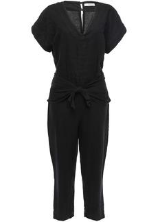 Joie Woman Jaydana Cropped Tie-front Linen Jumpsuit Black