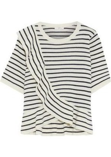 Joie Woman Jayni B Ruffled Striped Wool And Cashmere-blend Top Ivory