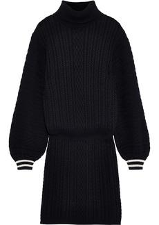 Joie Woman Jelinelle Cable-knit Cotton And Cashmere-blend Turtleneck Mini Dress Black