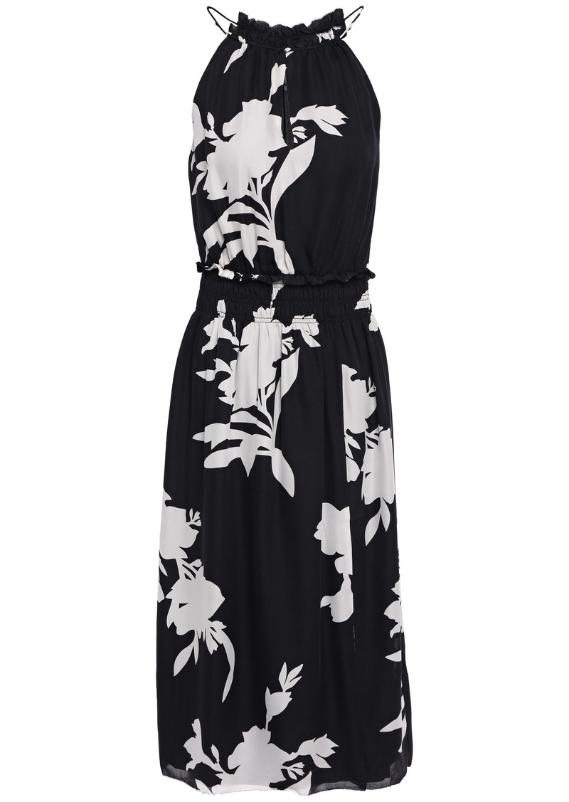 Joie Woman Jerelle Shirred Floral-print Silk-crepe Midi Dress Black