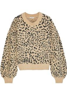 Joie Woman Jorja Leopard-print Brushed Cotton-blend Sweater Animal Print
