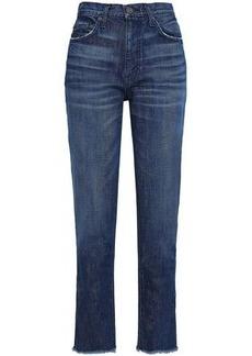 Joie Woman Josie Frayed High-rise Straight-leg Jeans Mid Denim