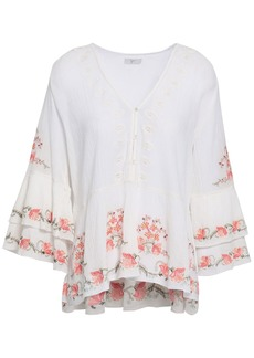 Joie Woman Kamile Embroidered Crinkled Cotton-gauze Blouse Ivory