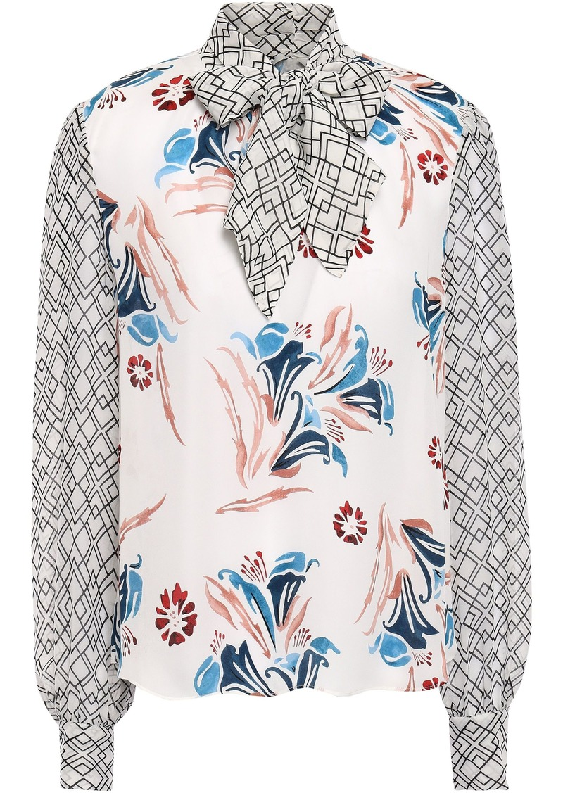 Joie Woman Kanela Tie-neck Georgette-paneled Floral-print Silk Crepe De Chine Blouse White