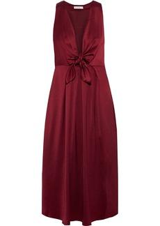 Joie Woman Kataniya Knotted Pleated Satin Midi Dress Plum