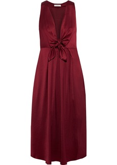 Joie Woman Kataniya Knotted Pleated Satin Midi Dress Plum